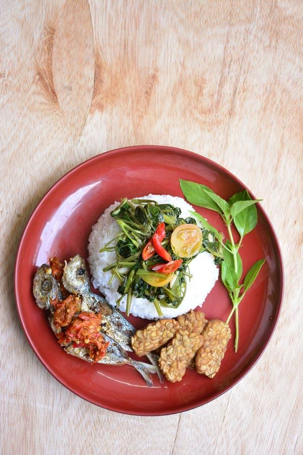 Riz, poissons frits, tempe frit, kangkung fait sauter et goreng de sambel photo stock