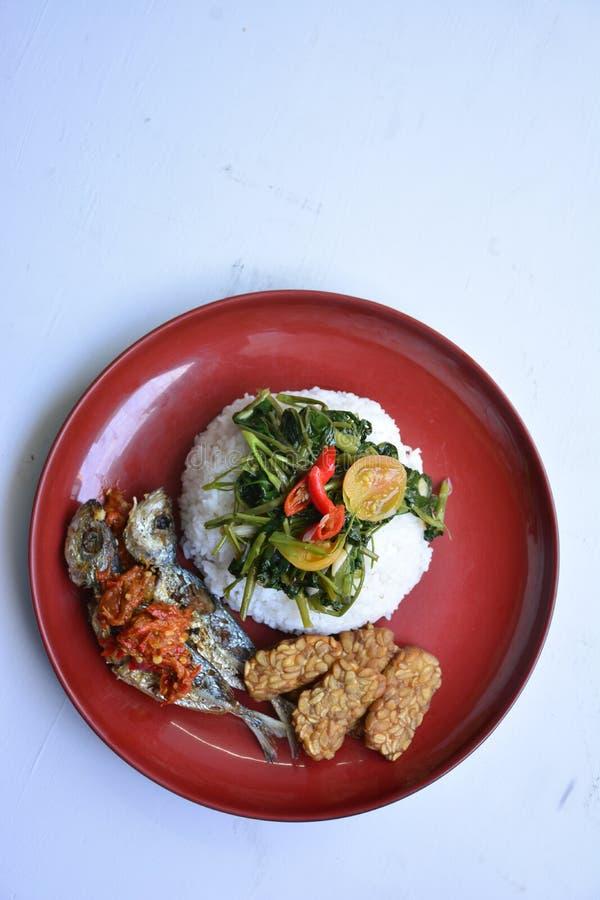 Riz, poissons frits, tempe frit, kangkung fait sauter et goreng de sambel images libres de droits