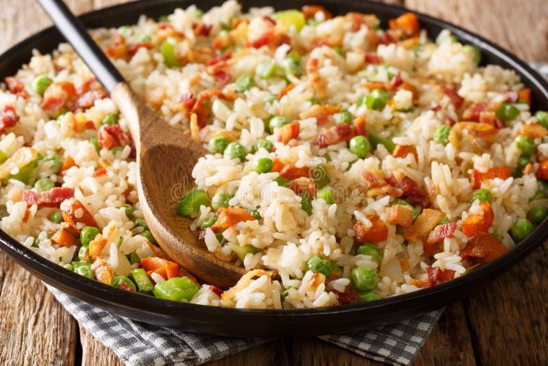 Riz savoureux cuisiné avec légumes et bacon dans une assiette horizontal photos libres de droits