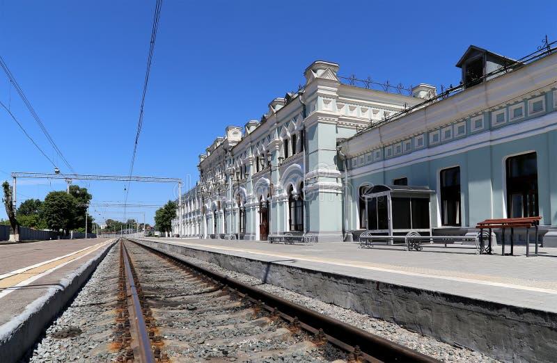 Rizhsky火车站(vokzal的Rizhsky,里加驻地)是九个主要火车站之一在莫斯科,俄罗斯 图库摄影