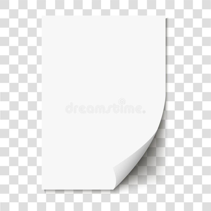 Rizo de la página blanca en el papel vacío de la hoja con la sombra libre illustration