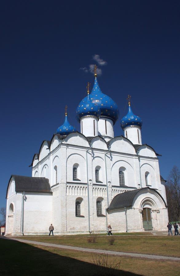 Rizopolozhenskiy大教堂在Rizopolozhensky修道院里。俄罗斯,苏兹达尔。 图库摄影