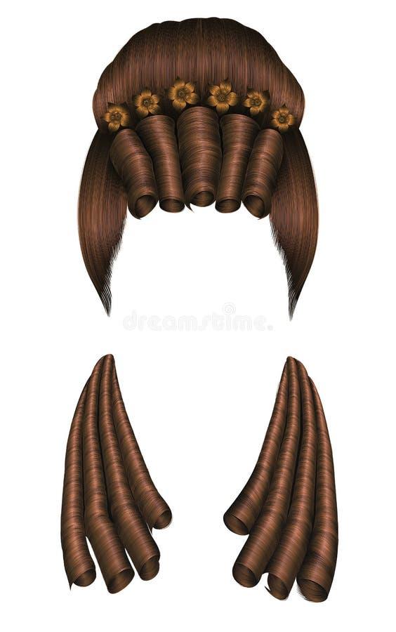 Rizos de los pelos de la peluca de la mujer estilo medieval rococó, alto bollo barroco de los hairdress con las flores libre illustration