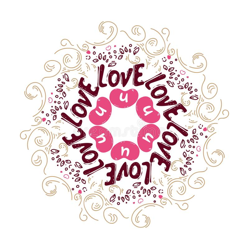 Rizos del garabato Corazones lindos Diseño romántico del vector con el dibujo de la mano que pone letras al amor u Fondo de la ma stock de ilustración