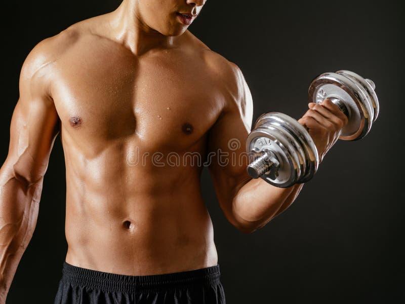 Rizos masculinos asiáticos del bíceps que hacen foto de archivo
