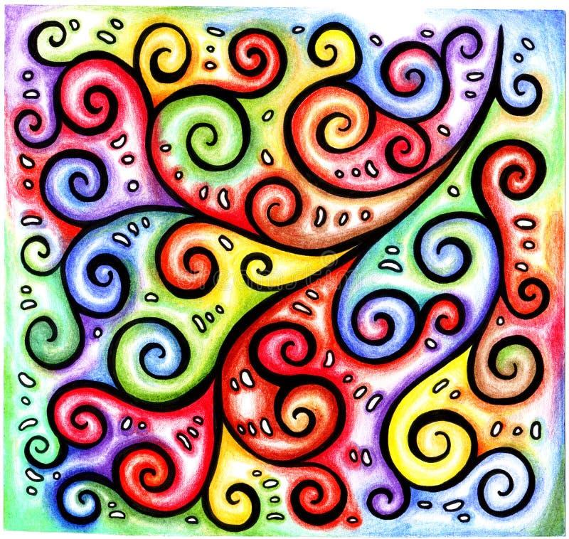 Rizos negros lineares caóticos y espirales del extracto a mano colorido brillante multicolor del modelo en fondo iridiscente del  stock de ilustración