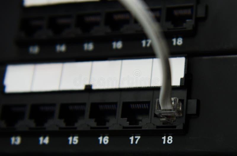 RJ11 το καλώδιο συνδέει με την επιτροπή στοκ φωτογραφία