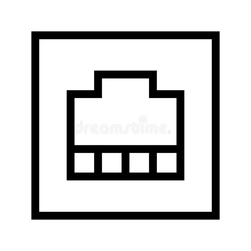 RJ-45 Port Icon. RJ-45 Port, Local Area Network LAN Port Icon Vector stock illustration