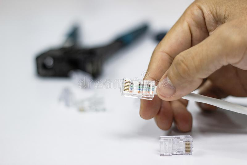 RJ45 und Netzinternet-Kabel lizenzfreies stockbild