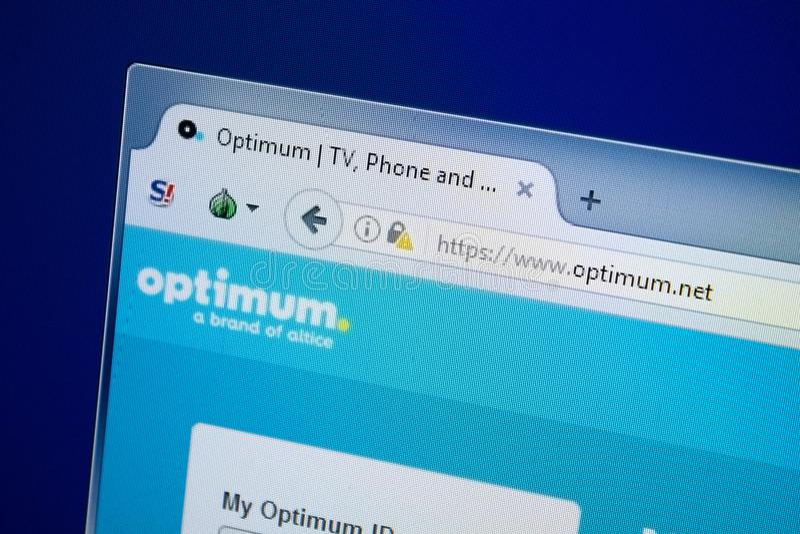 Rjazan', Russia - 26 agosto 2018: Homepage del sito Web ottimale sull'esposizione del PC URL - optimum rete fotografia stock