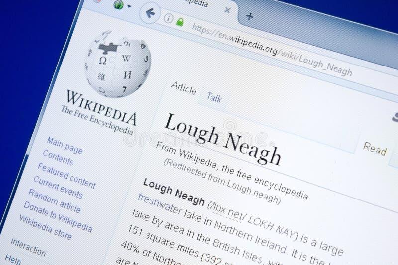 Rjazan', Russia - 28 agosto 2018: Pagina di Wikipedia circa il Lough Neagh sull'esposizione del PC immagini stock