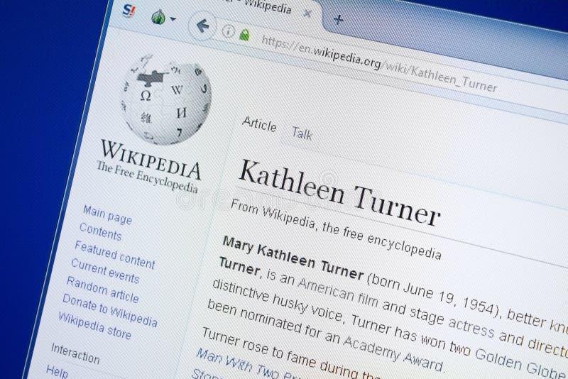 Rjazan', Russia - 19 agosto 2018: Pagina di Wikipedia circa Kathleen Turner sull'esposizione del PC immagine stock libera da diritti