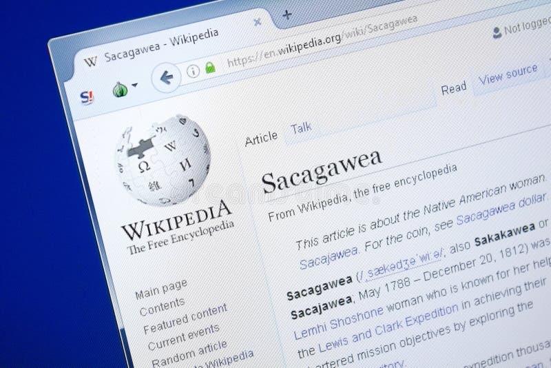 Rjazan', Russia - 28 agosto 2018: Pagina di Wikipedia circa Sacagawea sull'esposizione del PC fotografie stock