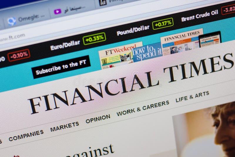 Rjazan', Russia - 16 giugno 2018: Homepage del sito Web di Financial Times sull'esposizione del PC, URL - FT com fotografie stock libere da diritti