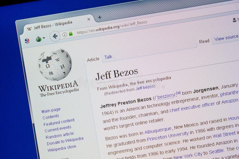 Rjazan', Russia - 9 luglio 2018: Pagina su Wikipedia circa Jeff Bezos sull'esposizione del PC immagine stock libera da diritti