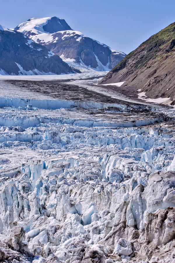 Ice break up on salmon Glacier, British Columbia Canada. View of one arm of the Salmon Glacier, fifth largest non-polar Glacier in the world, showing Ice break stock photos