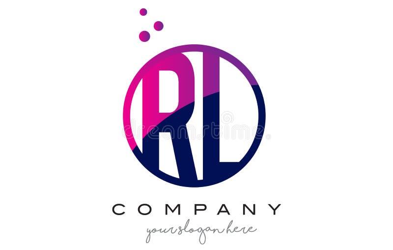 RL R L letra Logo Design do círculo com Dots Bubbles roxo ilustração stock