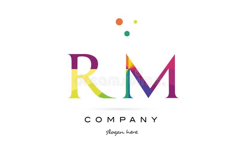 Rm R M Creative Rainbow Colors Alphabet Letter Logo Icon Stock ...