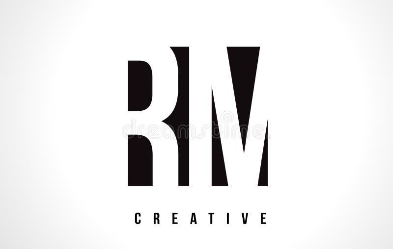 RM R M White Letter Logo Design com quadrado preto ilustração royalty free