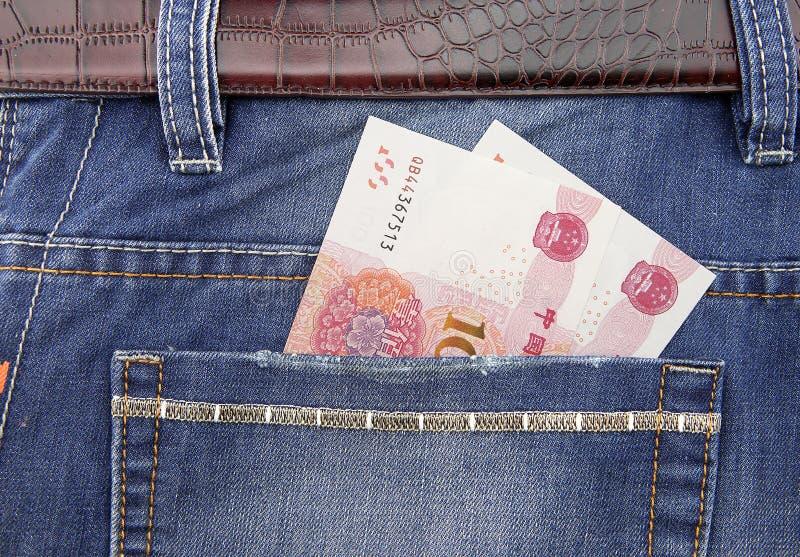RMB-sedel i fack royaltyfri bild