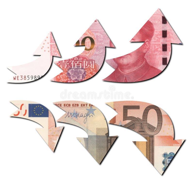 RMB W GÓRĘ UE puszka obrazy stock