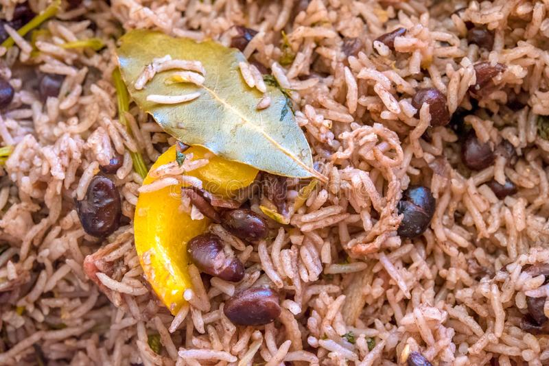 Cuban cuisine: Congri Rice close up. Congri rice or Arroz Congri which is a Cuban Style Rice. The rice is cooked in a soup of black beans and so it takes their stock image