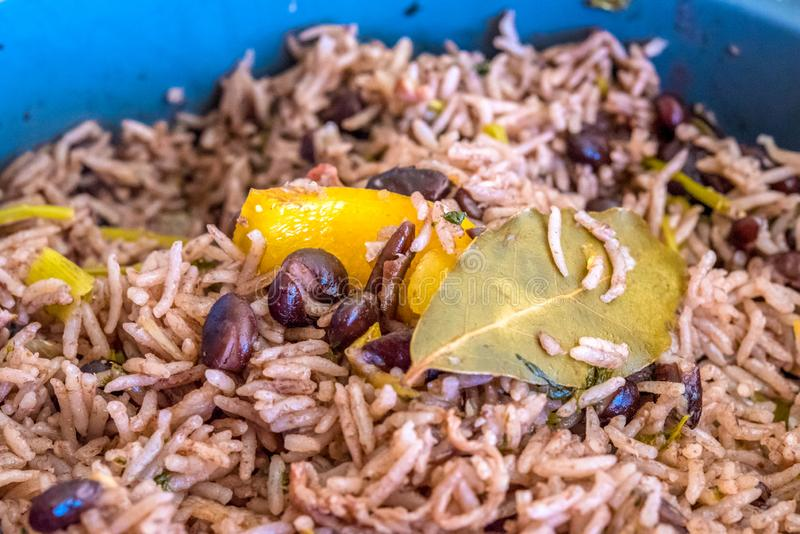 Cuban cuisine: Congri Rice close up. Congri rice or Arroz Congri which is a Cuban Style Rice. The rice is cooked in a soup of black beans and so it takes their stock images