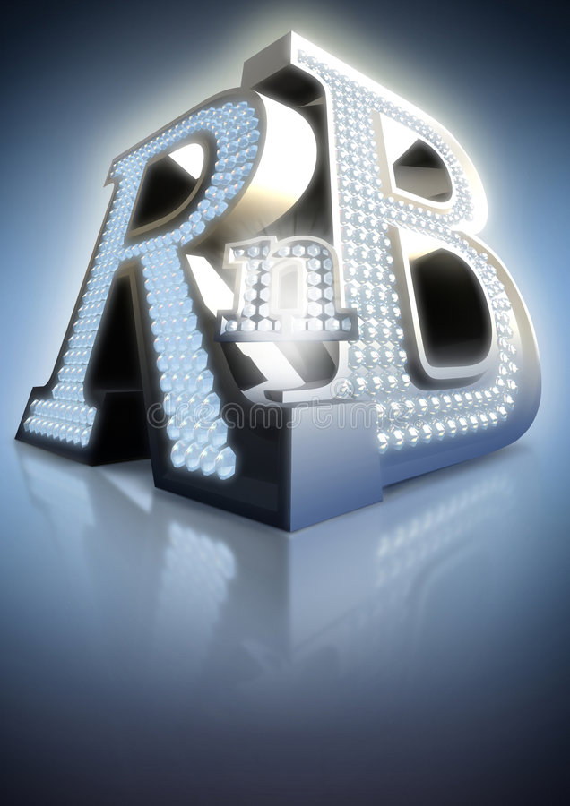 Rnb. Big blue letters rnb with glow