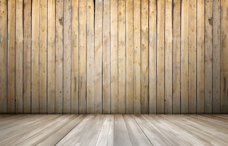 Rndering del interior con la pared y el piso de madera imagen de archivo libre de regalías