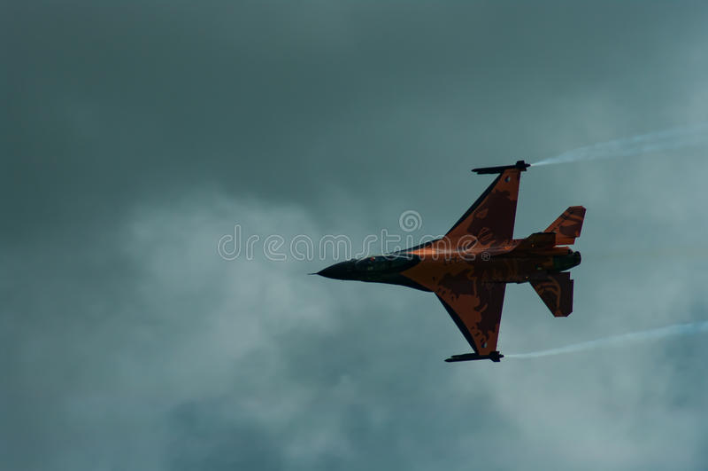 RNLAF F-16在费尔福德皇家空军基地的演示队 库存照片