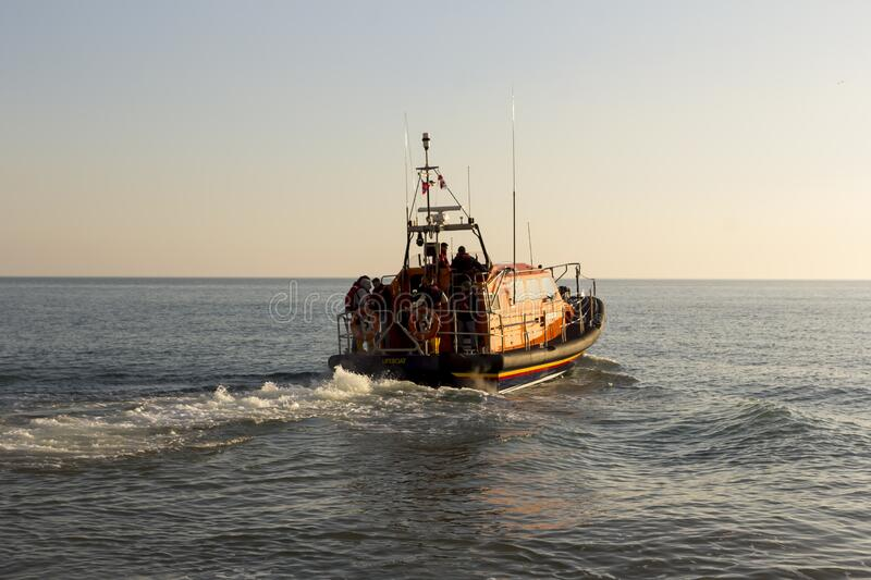 RNLB Cosandra, a Shannon class lifeboat, visits Hastings Lifeboat Station. royalty free stock photos