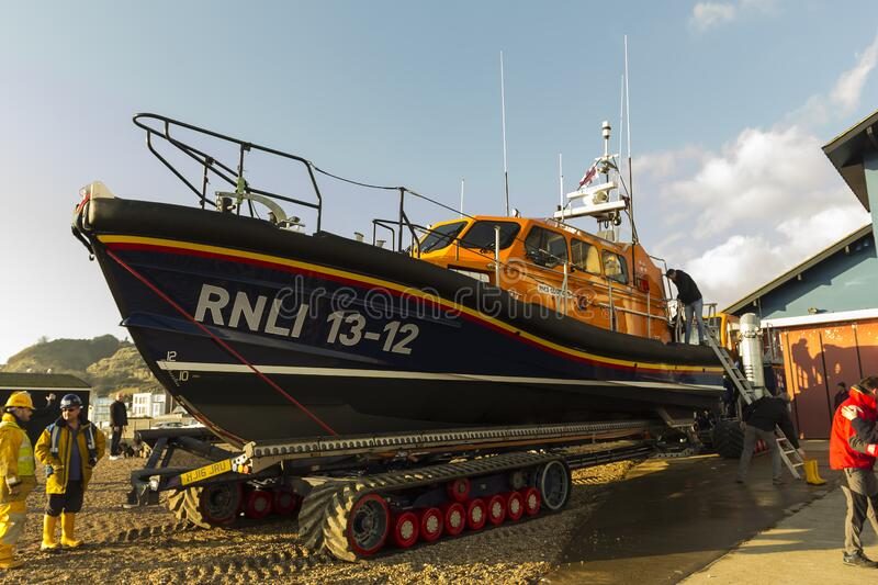 RNLB Cosandra, a Shannon class lifeboat, visits Hastings Lifeboat Station. royalty free stock photography