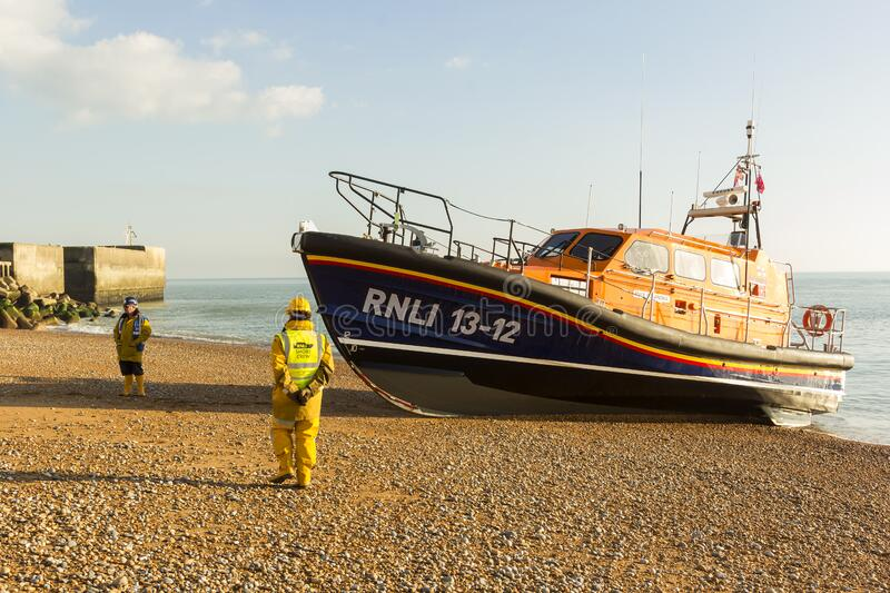 RNLB Cosandra, a Shannon class lifeboat, visits Hastings Lifeboat Station. stock photo