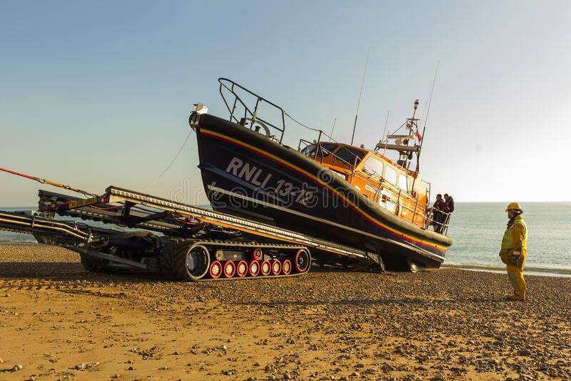 RNLB Cosandra, a Shannon class lifeboat, visits Hastings Lifeboat Station. stock image