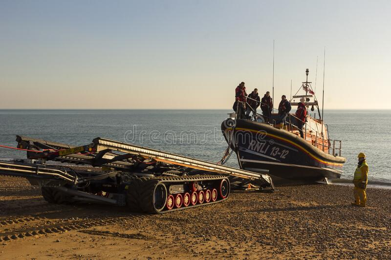 RNLB Cosandra, a Shannon class lifeboat, visits Hastings Lifeboat Station. royalty free stock photo