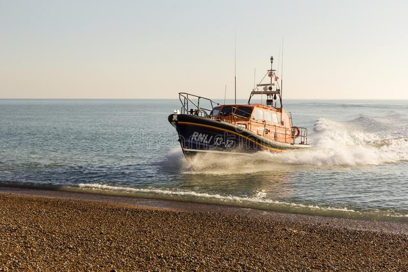 RNLB Cosandra, a Shannon class lifeboat, visits Hastings Lifeboat Station. stock photos