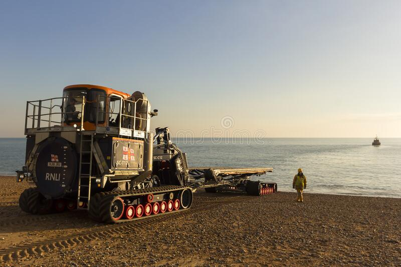 RNLB Cosandra, a Shannon class lifeboat, visits Hastings Lifeboat Station. stock photography