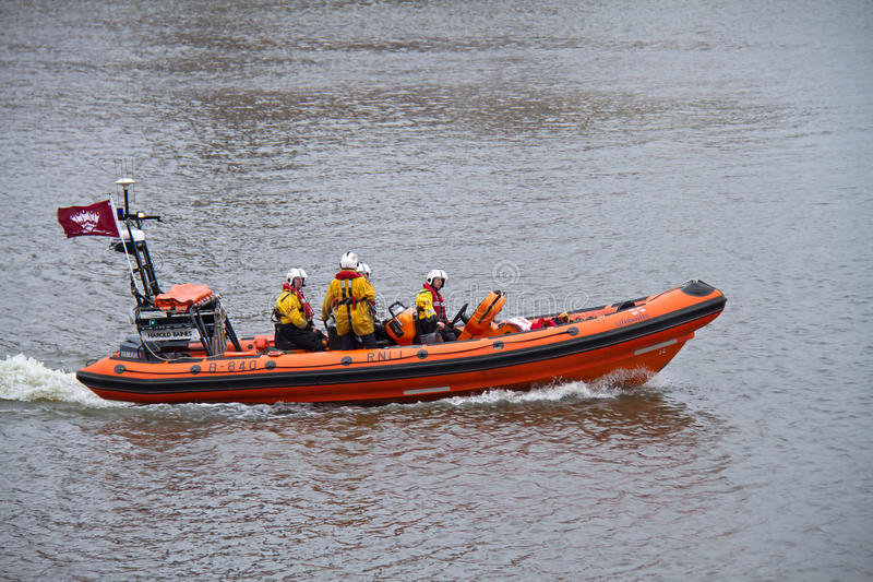 RNLI Launch On River Thames Editorial Stock Image