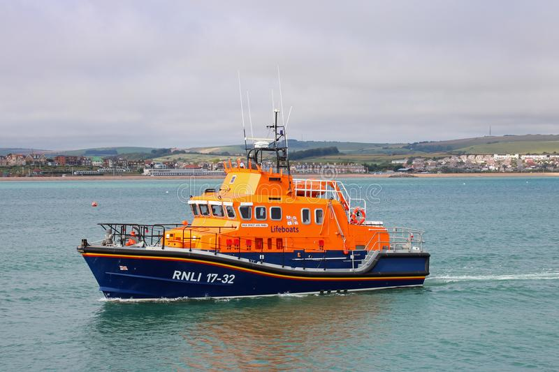 RNLI Weymouth lifeboat. The Royal national lifeboat institutes lifeboat at Weymouth United Kingdom. This is one of the busiest lifeboats in the united Kingdom royalty free stock photos