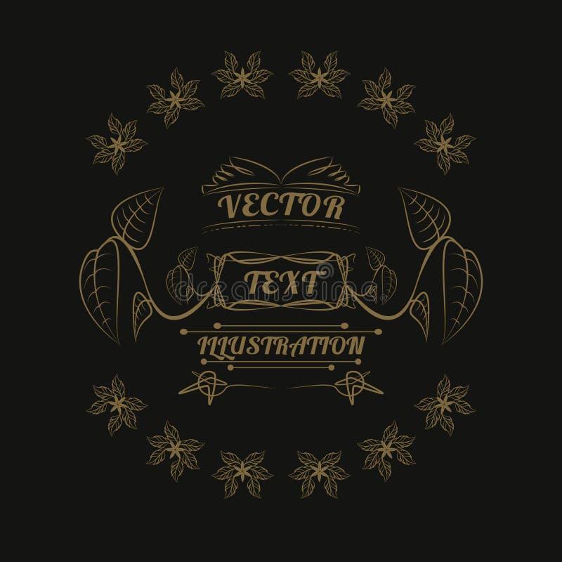 Roślina loga projekt, ilustracja, złoto i czerń, fotografia stock
