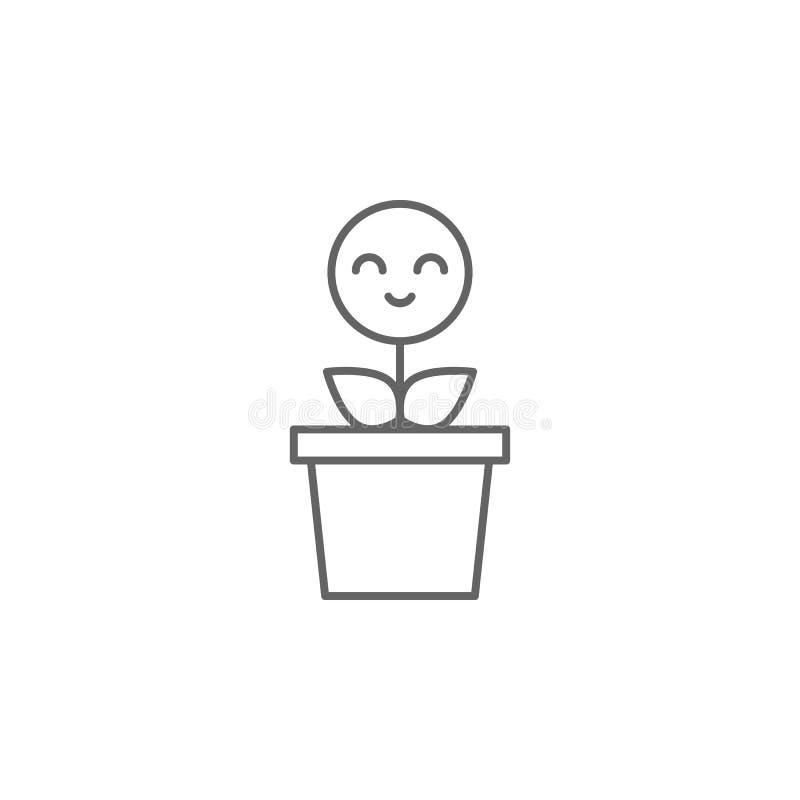 Roślina, uśmiech, kwiat ikona r Cienka kreskowa ikona dla strona internetowa projekta i rozwoju, app rozw?j premia royalty ilustracja