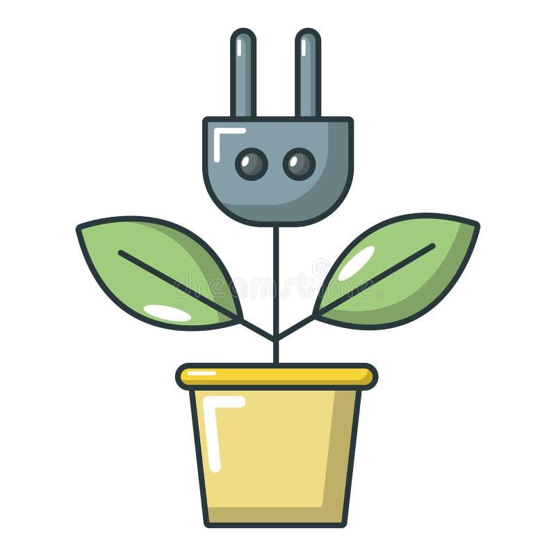 Roślina w garnka i prymki ikonie, kreskówka styl royalty ilustracja