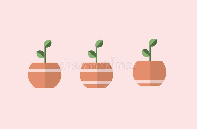 Roślina w garnkach z linią 3 różnego wektoru, prości projekty ilustracja wektor