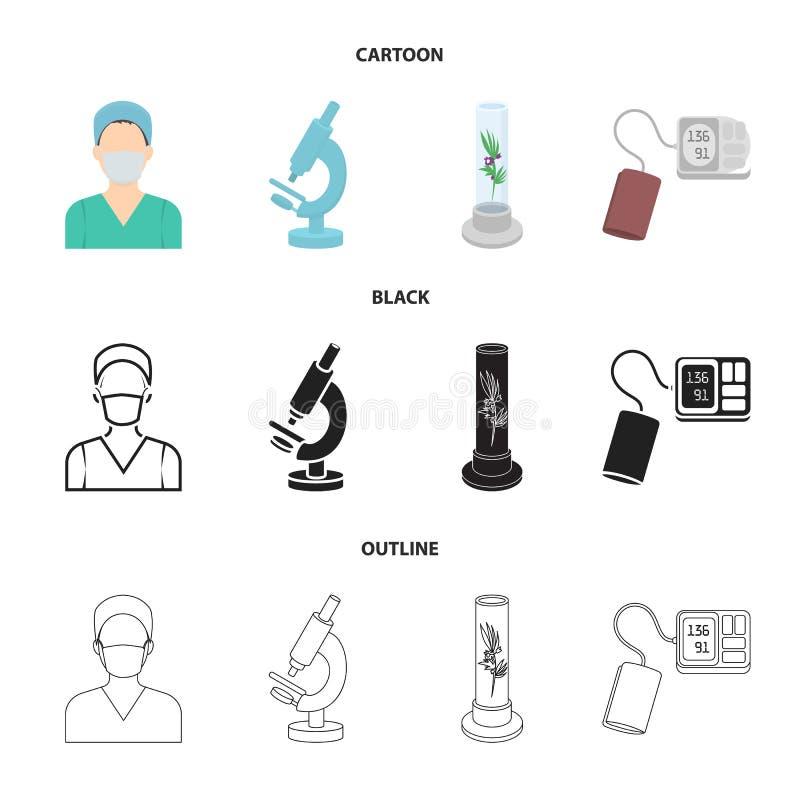 Roślina w Vitro, pielęgniarka, mikroskop, tonometer Medycyn ustalone inkasowe ikony w kreskówce, czerń, konturu stylowy wektorowy royalty ilustracja