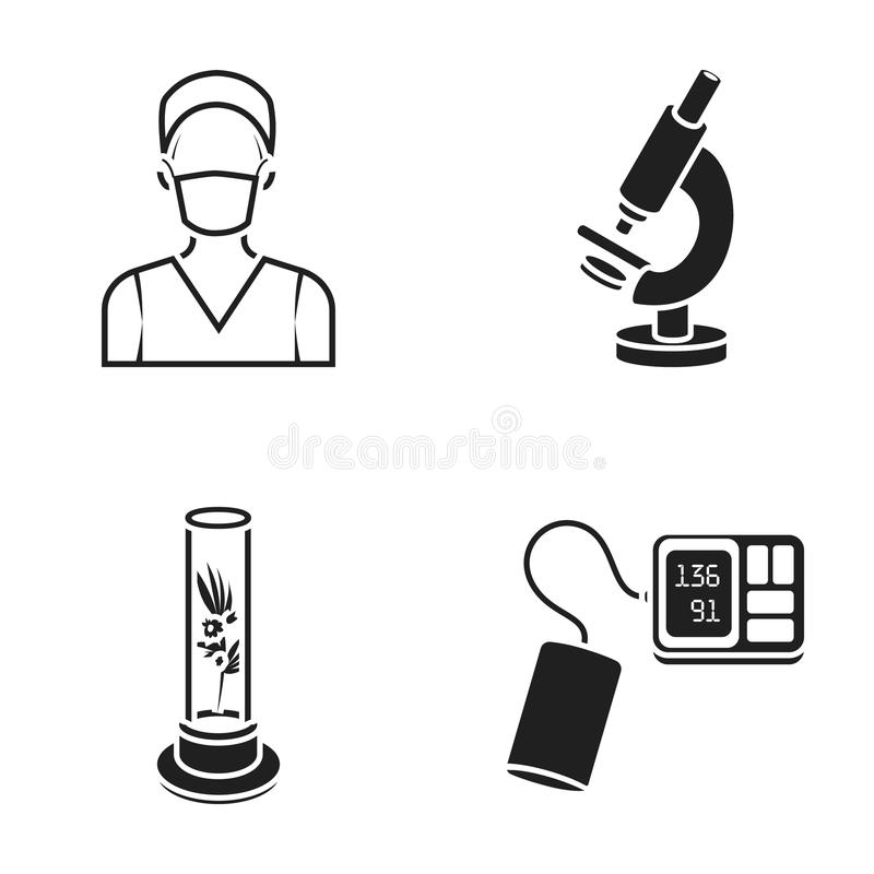 Roślina w Vitro, pielęgniarka, mikroskop, tonometer Medycyn ustalone inkasowe ikony w czerń stylu symbolu wektorowym zapasie royalty ilustracja