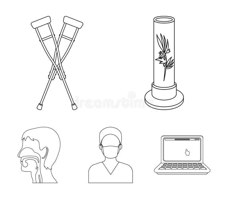 Roślina w Vitro, szczudła, pielęgniarka, ludzki oddechowy system Medycyn ustalone inkasowe ikony w konturze projektują wektoroweg ilustracji
