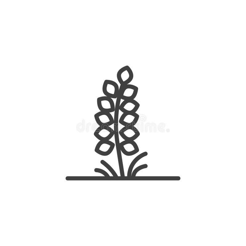 Roślina z liść kreskową ikoną royalty ilustracja