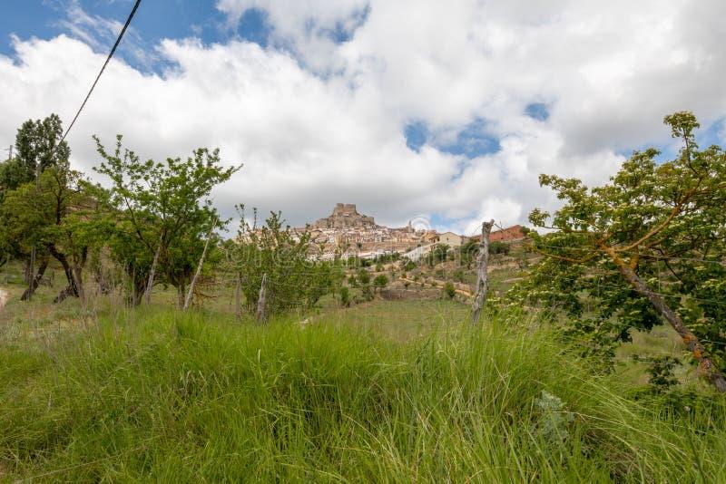 Roślinność graniczy typową górską wioskę fotografia royalty free