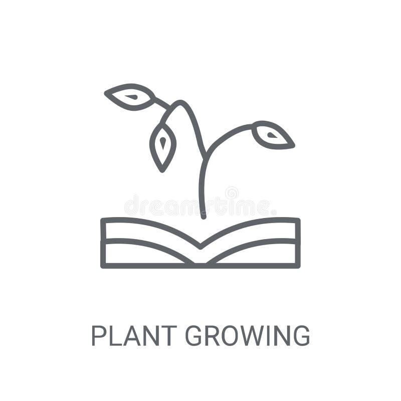 rośliny dorośnięcie na książkowej ikonie Modny rośliny dorośnięcie na książkowym logo co ilustracja wektor