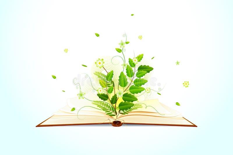 Rośliny dorośnięcie na Otwierałam książce royalty ilustracja